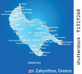 Island of Zakynthos in Greece map on blue background - stock vector