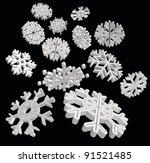 Falling 3D snowflakes. Vector