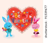 Bunnies in love Valentine card - stock vector