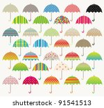 colorful vector umbrella set | Shutterstock .eps vector #91541513