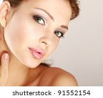 happy woman touching her face... | Shutterstock . vector #91552154