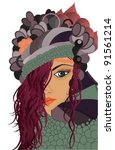 abstract artistic girl...   Shutterstock .eps vector #91561214