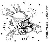 Doodle style football helmet illustration in vector format with retro 1970s pop background - stock vector