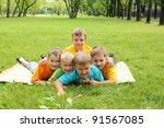 group of children lying on the...   Shutterstock . vector #91567085