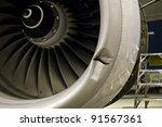 damaged jet engine on large... | Shutterstock . vector #91567361