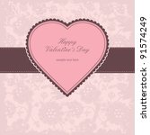 valentine s card with pink heart | Shutterstock .eps vector #91574249