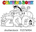 coloring book zoo sign with... | Shutterstock .eps vector #91576904