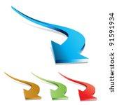 3d vector arrows set | Shutterstock .eps vector #91591934