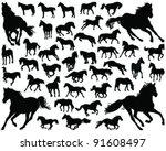 horses silhouette vector | Shutterstock .eps vector #91608497