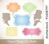 elegant vintage text bubbles | Shutterstock .eps vector #91608797