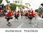LIMASSOL,CYPRUS-MARCH 6: Unidentified Bulgarian people in national costumes  in Cyprus carnival parade on march 6, 2011 in Limassol,Cyprus, established in 16th century, influenced by Venetians. - stock photo