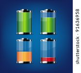 glossy transparent battery...   Shutterstock .eps vector #91636958