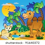 desert scene with various... | Shutterstock .eps vector #91640372