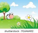 cow standing below large tree... | Shutterstock . vector #91646402