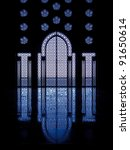 Blue light reflects off marble floor from illuminated stained glass windows framing doorway into mosque in Casablanca, Morocco - stock photo