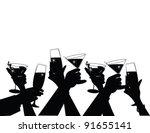 toasting silhouette eps 8 ... | Shutterstock .eps vector #91655141