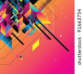 beautiful retro template   Shutterstock .eps vector #91663754