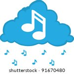 cloud with music notes floating ... | Shutterstock .eps vector #91670480
