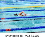 man swimming during a... | Shutterstock . vector #91672103