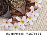 Spa concept with herbs - stock photo