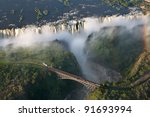 victoria falls on helicopter | Shutterstock . vector #91693994