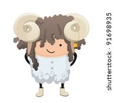 a child dressed up like a sign... | Shutterstock .eps vector #91698935