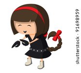 a girl dressed up like a sign...   Shutterstock .eps vector #91698959