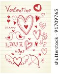 hand drawn red doodle valentine'... | Shutterstock .eps vector #91709765