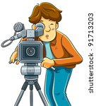 cameraman shoot the cinema with ... | Shutterstock .eps vector #91713203