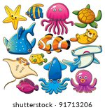 sea animals collection | Shutterstock .eps vector #91713206