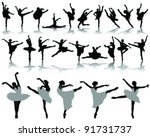 black ballerina silhouette on... | Shutterstock .eps vector #91731737