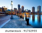 Stock photo boston harbor and financial district at sunset in boston massachusetts 91732955