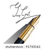fragment of fountain pen | Shutterstock .eps vector #91743161