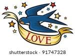 swallow tattoo design | Shutterstock .eps vector #91747328