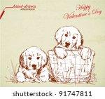 Stock vector love puppies valentine s hand drawn illustration 91747811