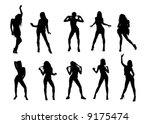 dancing girls siluettes | Shutterstock .eps vector #9175474