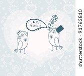 birds in love. vector... | Shutterstock .eps vector #91763810