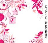 Floral Summer Background. Bird...