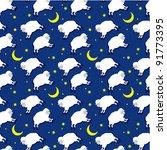 Бесшовные Спящая ягнят шаблон. вектор. звезда,животное,искусство,баа,справочная информация,голубой,яркий,мультфильм...