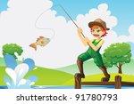 a vector illustration of a boy... | Shutterstock .eps vector #91780793