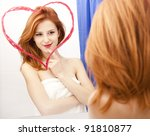 Redhead Girl Near Mirror With...