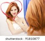 Redhead Girl Near Mirror With...
