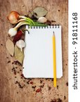 notepad for recipes and spices... | Shutterstock . vector #91811168