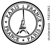 Paris Theme Stamp Stock Photo Vector Illustration 91811861
