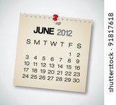 2012 calendar june old torn... | Shutterstock .eps vector #91817618