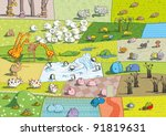 zoo landscape | Shutterstock .eps vector #91819631