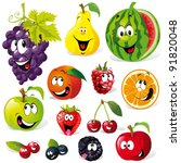 funny fruit cartoon isolated on ... | Shutterstock .eps vector #91820048