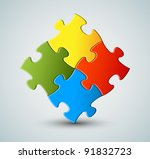 abstract vector puzzle  ... | Shutterstock .eps vector #91832723