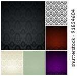wallpaper pattern set  six color | Shutterstock .eps vector #91834604