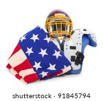 American flag and football protective suit. - stock photo